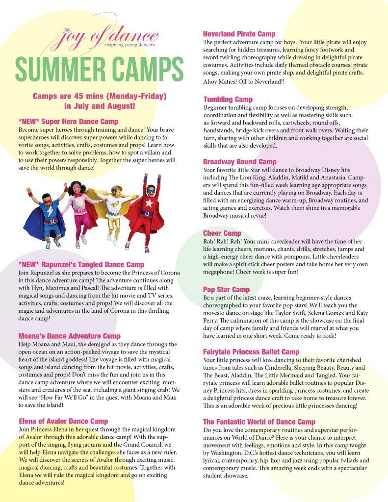 2019 Summer Camp Offerings